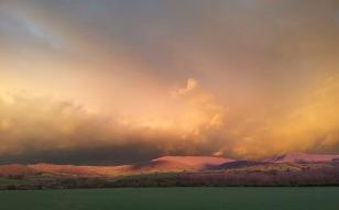 evening light black mountains